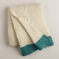 Ivory Luxe Knit Throw with Teal Border - World Market