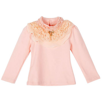 Autumn Spring Child Kids Baby Girl Long Sleeve Blouse Tops Floral Lace Collar T shirts #2358