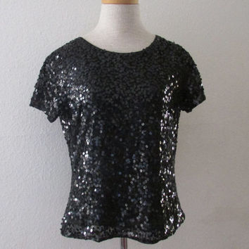 14-1131 Vintage Black Sequin Blouse / Cap Sleeve Sequin Blouse / Black Blouse / Formal Blouse / Black Party Blouse / Sequin Top