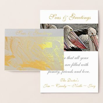 Seas & Greetings Coastal Pelicans Gold Foil Card