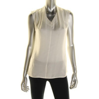 Lord & Taylor Womens Petites Satin Pleated Pullover Top