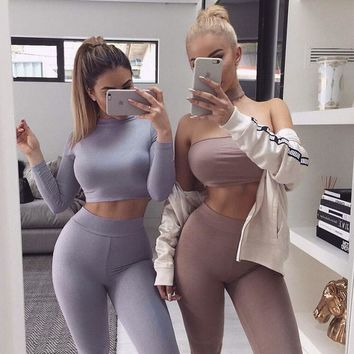 female winter set sweatshirt pants two piece outfit 2 piece set women suit crop top legging set track suit crop hoodie set T829