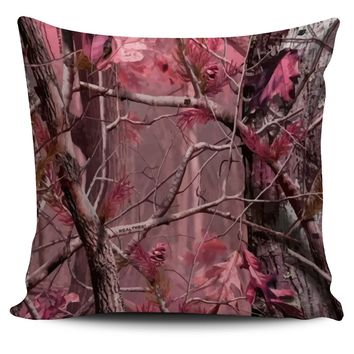 Rose Pink Camo Throw Pillow