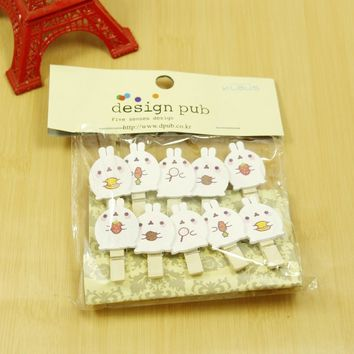 10 pcs/lot Kawaii Cartoon Rabbit Wooden Clip Photo paper Clothespin Craft Clips Party Decoration Clip with Hemp Rope