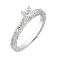 Princess Diamond Engraved Solitaire Ring 5/8ctw
