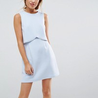 ASOS PETITE Scuba Crop Top With Embellished Trim Mini Dress at asos.com