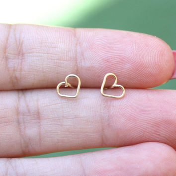 Tiny heart gold earrings, heart stud earrings, tiny studs earrings, gold studs earrings, gold post ,gold spiral star earrings