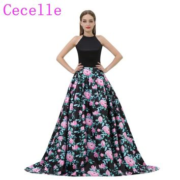 2018 Black Floral Print Long Prom Dresses Halter A-line With Pockets Women Formal Evening Dress Teens Party Dress Custom Made