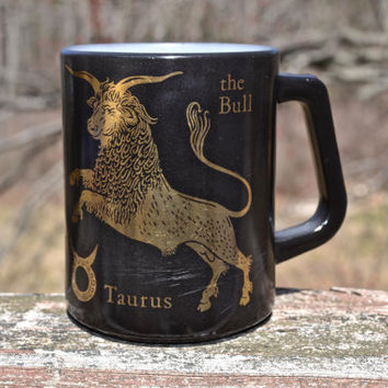 Vintage Taurus Coffee Mug.  1970's Black Zodiac Coffee Mug. White Milk Glass with Black and Gold Print.   - VCMS5