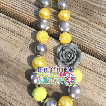 Yellow and Gray rose bubblegum necklace | yellow and silver necklace