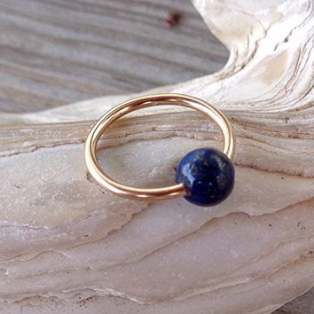 Captive Lapis Bead Septum,Upper Ear Daith Rook,Tragus,Cartilage Hoop Earring,Nose Ring,Eyebrow Piercing
