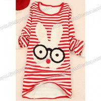 Sweet Cartoon Glasses Bunny Pattern Stripes Thicken Long Sleeved Women's T-Shirt