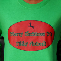 Home Alone Long Sleeved T-Shirt. Merry Christmas Ya Filthy Animal. Customize To Size And Color.