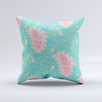 Pink & Teal Paisley Design Ink-Fuzed Decorative Throw Pillow