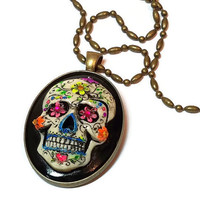 Rainbow Sugar Skull Cameo Necklace, Day of the Dead Sugar Skull Cameo Horror Necklace, Dia De Los Muertos Rainbow Necklace