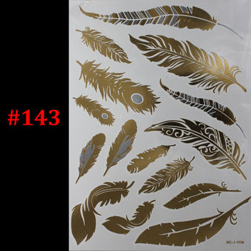 1PC Flash Metallic Waterproof Tattoo Gold Silver Women Fashion Henna Peacock Feather Design Temporary Tattoo Stick Paster