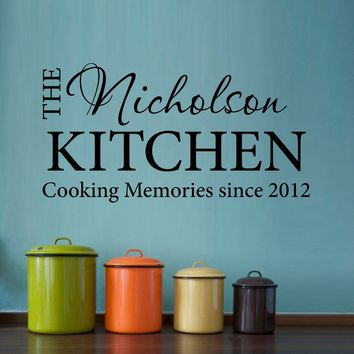 Cooking Memories Wall Decal - Kitchen Name Decal - Date Decal - Medium