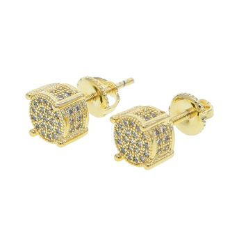 earrings 2018 iced out mens gold color mirco pave stud earrings with screw pin back mens hip hop party stud earring jewelry