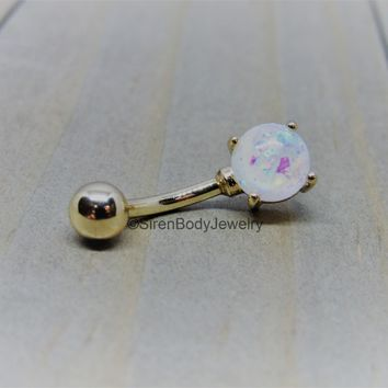 Yellow gold belly ring 14g white opal prong set curved barbell navel bar