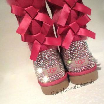 ONETOW Blinged Out PINK Bailey Bow Uggs w/ Swarovski Crystals- PINK Uggs with Crystal Bling