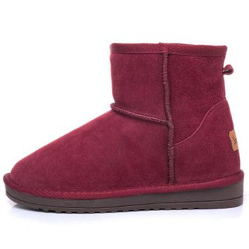 Autumn and winter new style hot Increased in cotton shoes boots short boots Wine red-1