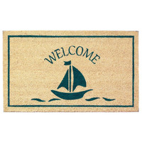 Seaside Coastal Beach Sailboat Doormat Rug Welcome Mat