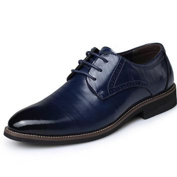 Hot Sale Men Leather Dress Shoes Fashion Wedding Shoes Breathable Business Shoes Lace-up Flat Shoe Mens Oxfords