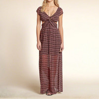 Patterned Cutout Maxi Dress
