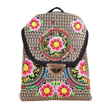 Student Backpack Children HOT Sales Naxi.Hani boho embroidery canvas women backpack Ethnic vintage travel backpack casual students backpack schools bags AT_49_3