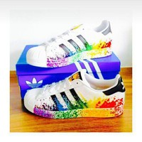 Adidas Fashion Women Multicolor Shell-toe Flats Sneakers Sport Shoes white ink jet