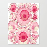 Flowery Pink and White Canvas Print by Jennifer Warmuth Art And Design