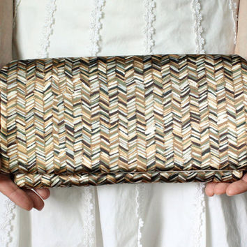 Tribal Chevron Clutch - Brown and Olive Green