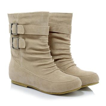 Suede Fur Lining Casual Mid Calf Boots