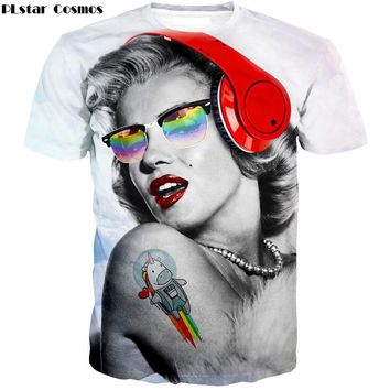 PLstar Cosmos Unisex-Adult Hipster 3D T-Shirt Female stars Sexy Marilyn Monroe Prints T Shirts Cute Rainbow Unicorn Tee Tops