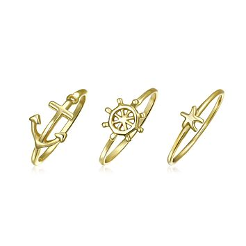 Anchor Wheel Starfish 14K Gold Plate Sterling Silver Midi Knuckle Ring