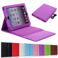 Leather Wireless Built-in Bluetooth Keyboard Stand Case for iPad Mini