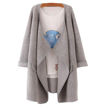 Korean Designer Female Women Solid Lapel Long Sleeve Loose Knitted Sweater Cardigan Coat Jacket chaquetas mujer INY66