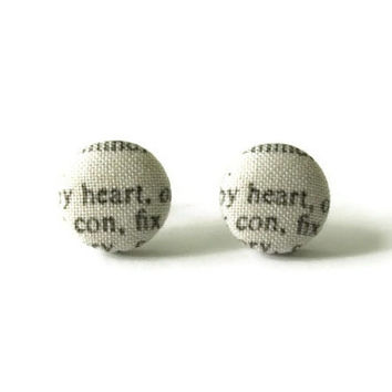 Heart Earring Fabric Cover Buttons Surgical Stainless Steel Posts and Backs