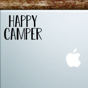 Happy Camper Laptop Wall Decal Sticker Vinyl Art Quote Macbook Apple Decor Car Window Truck Kids Baby Teen Inspirational Adventure Travel