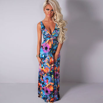 Floral Printed Sleeveless Deep V-Neck Maxi Dress
