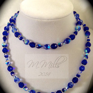 Electric Blue Czech Crystal Necklace