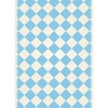 English Checker Design  Size Rug: 4ft x 6ft  light blue & white colors