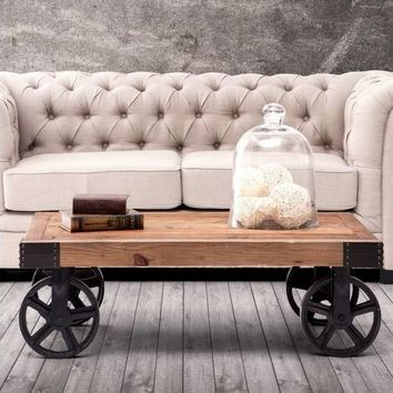 Rustic 100% Solid Wood and Iron Coffee Table
