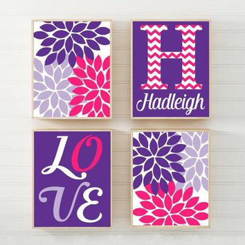 Girl Nursery Wall Art, Hot Pink Purple Girl Bedroom Decor, Baby Girl Decor, Love Decor, Hot Pink Purple Flowers, Canvas or Prints, Set of 4