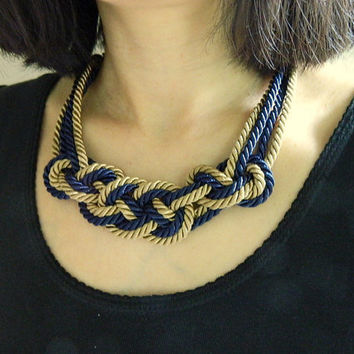 Notre Dame, fighting irish Sailor Knot Necklace/choker,School Colors,Blue and Gold, Rope Necklace, Nautical Necklace,bib necklace