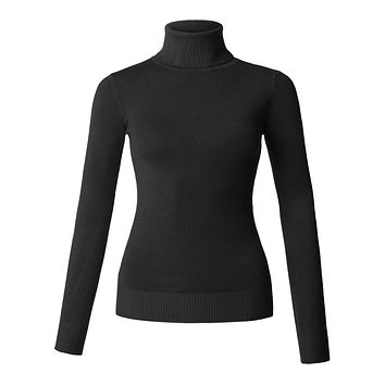 LE3NO Womens Slim Fit Fine Knitted Turtleneck Top