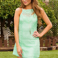 Monet Lace Dress - Mint