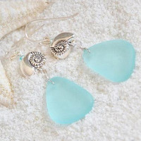 Sea glass and silver shell earrings, nautical blue jewelry, ocean themed gifts, beach lover gift ideas for women, boho chic accessories