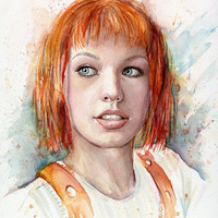Leeloo Multipass Portrait, The Fifth Element Art Print Watercolor Painting Giclee Sci-Fi Fan Art