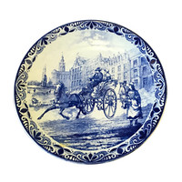 Delft Platter, City Scene of Horse & Carriage, Made in Holland, Vintage Pottery Display